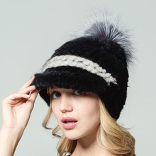 2017 mink wool knitted hat fashion raccoon fur ball decorative women Real fur Autumn and winter Keep warm Black duck tongue hat