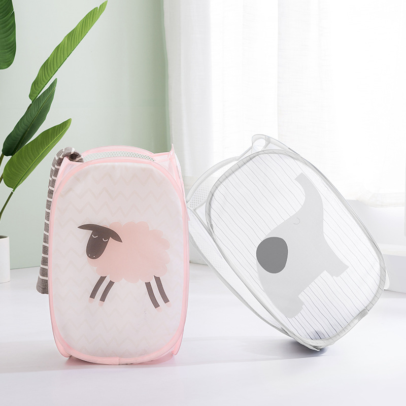 Home Foldable Clothes Storage Baskets Mesh Washing Dirty Clothes Laundry Basket Portable Sundries Organizer Toy Container