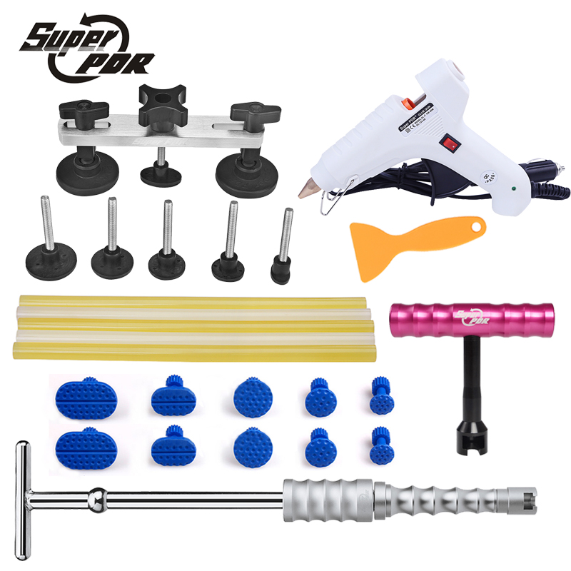 Super PDR dent removal tools kit 12v glue gun glue sticks slide hammer small red t-bar dent puller pdr pulling bridge tools spot welding sheet metal tools spotter tools with slide hammer 393pieces ss 393
