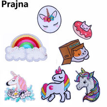 Prajna Fashion Rabbit Cat Unicorn Patch Applique Iron On Patches Anime Animal Embroidered Patches For Clothes Space Dog Badges(China)