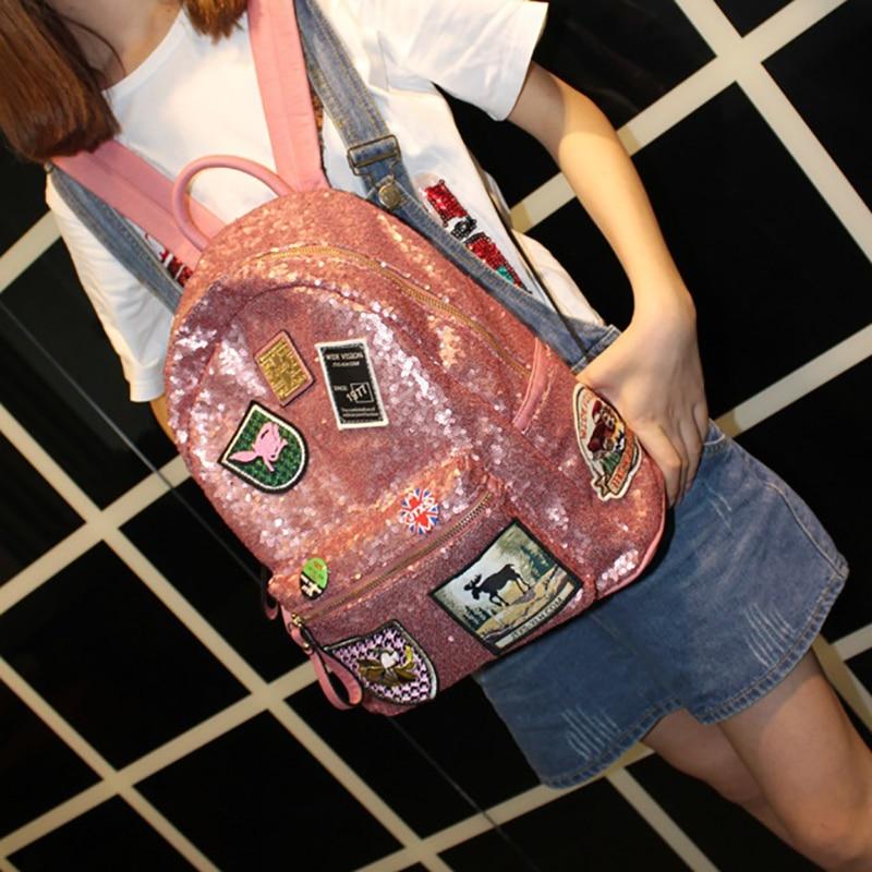 Sequin Badge Backpack Women Preppy Style School Bag for Teenager Girls Lady Fashion High Quality Bagpack mochila feminina 5