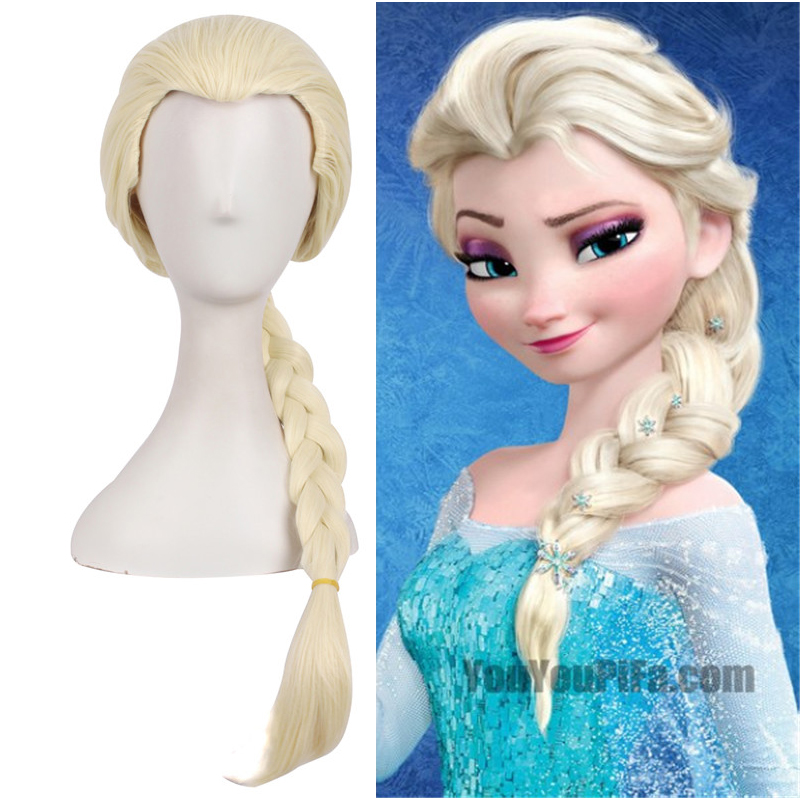 Frozen Elsa Blonde Anime Costume Cosplay 70cm Curly Wig Halloween Costumes Party Ladies Ponytail Hair Wig + Wig Cap