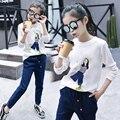 Tops para a Menina do Algodão T Adolescente T-Shirt da Primavera Crianças Trajes Casuais infantil roupa infantil vestuário o-pescoço 5 7 9 11 13 anos