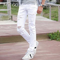 2016 New White Ripped jeans Men With Holes Super Skinny Famous Designer  Slim Fit Destroyed Torn Jean Pants For Male