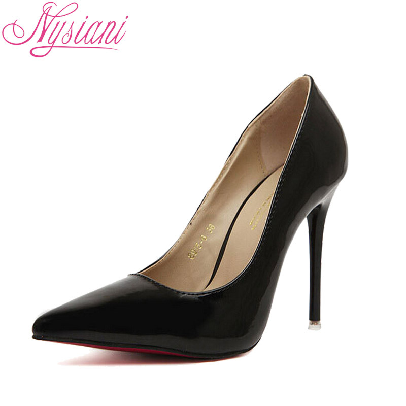 Patent Leather Sexy High Heels Women Spring Autumn Fashion Ladies Ultra Pumps Shoes stilettos Black - Nysiani Shopping Store store