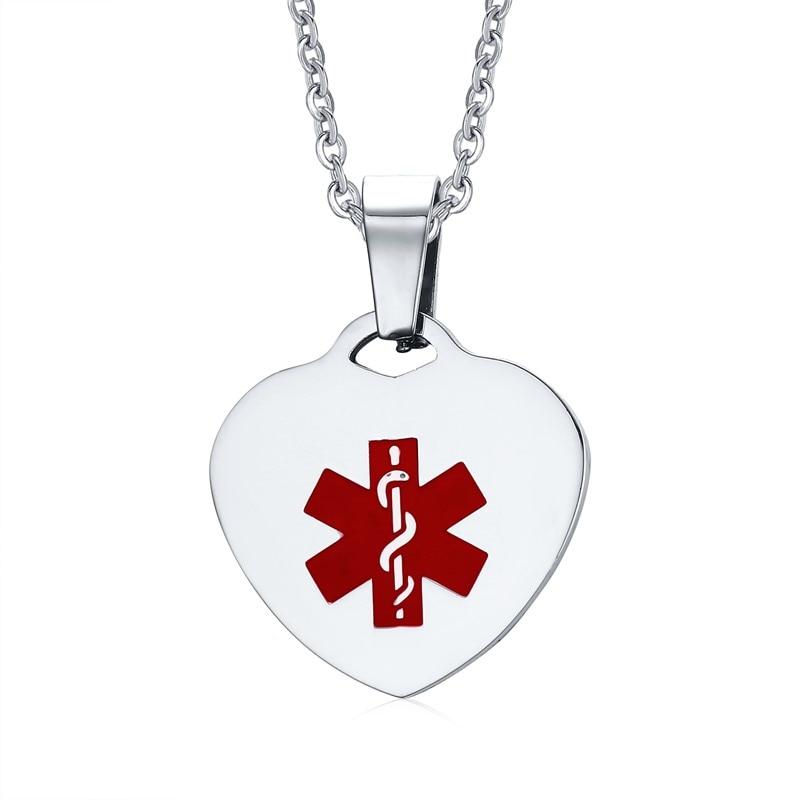 Medic Alert Necklace: Free Engraving Silver Tone Surgical Steel Medical Alert