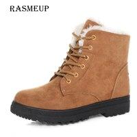 RASMEUP Women Lace Up Flat Snow Boots Fashion Black Red Brown Winter Woman Plush Warm Ankle