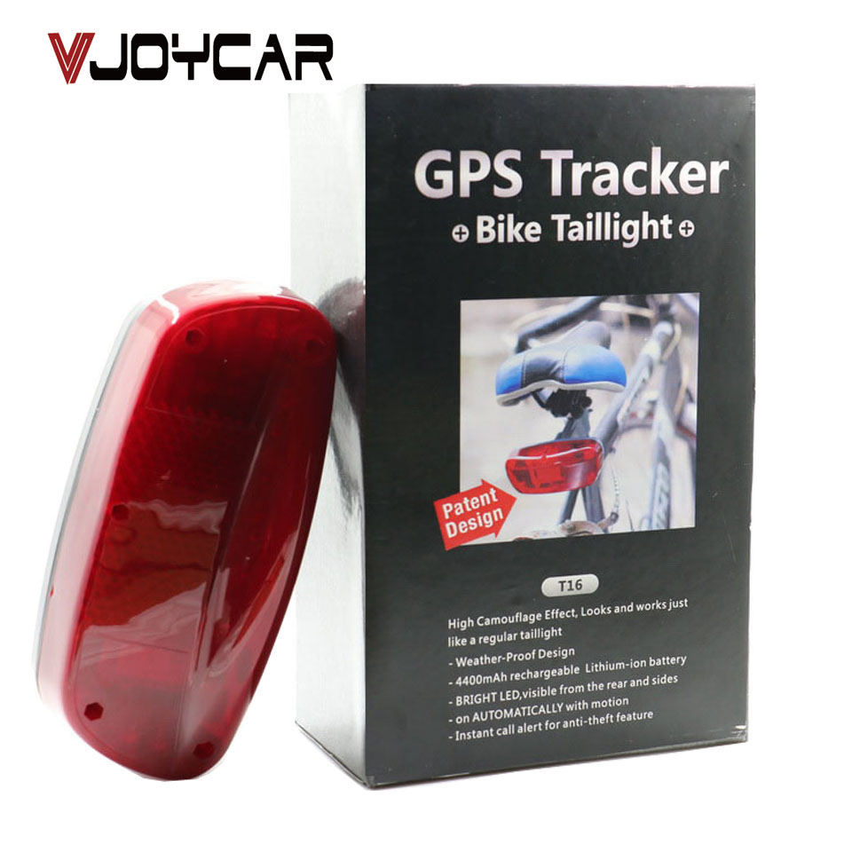 VJOYCAR T16 China Best Waterproof Tail Lamp Bicycle GPS Tracker 120 Days Real Time Tracking SMS Locating Audio Surveillance ebay best selling real time gps tracking pets and child