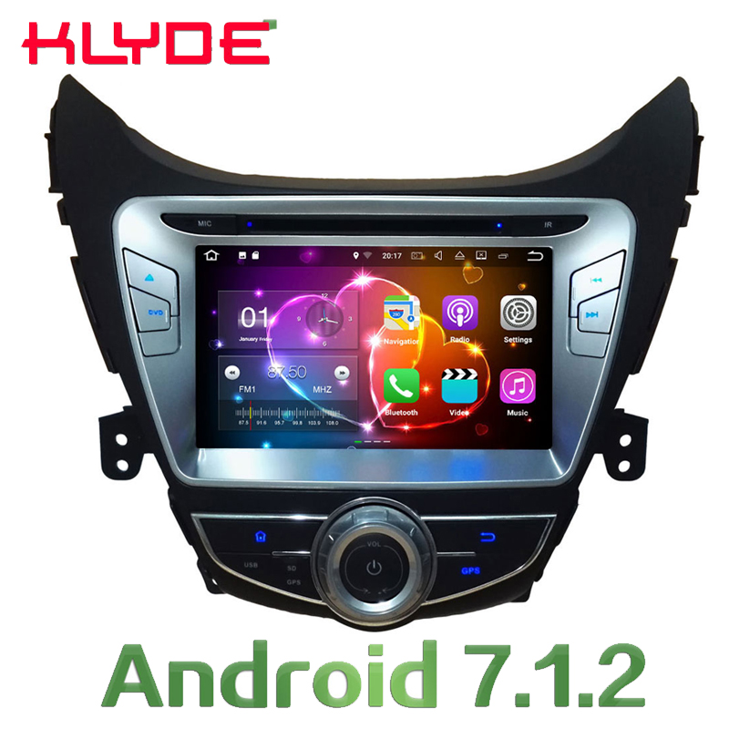 KLYDE 8'' 2GB RAM Car Radio Multimedia Video Player Radio Stereo GPS Navi Android 7.1.2 For Hyundai Elantra Avante I35 2011-2013 farcar s130 hyundai elantra 2011 2013 android w360