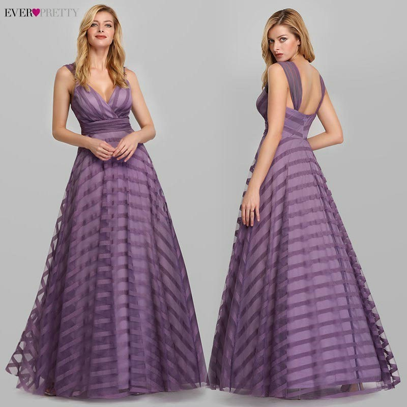 Lavender Evening Dresses Long Ever Pretty A-Line V-Neck Striped Spaghetti Straps Sexy Formal Party Dresses Robe De Soiree 2020