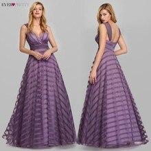 לבנדר ערב שמלות ארוך פעם די אונליין V צוואר פסים ספגטי רצועות סקסי צד פורמלי שמלות Robe De Soiree 2020