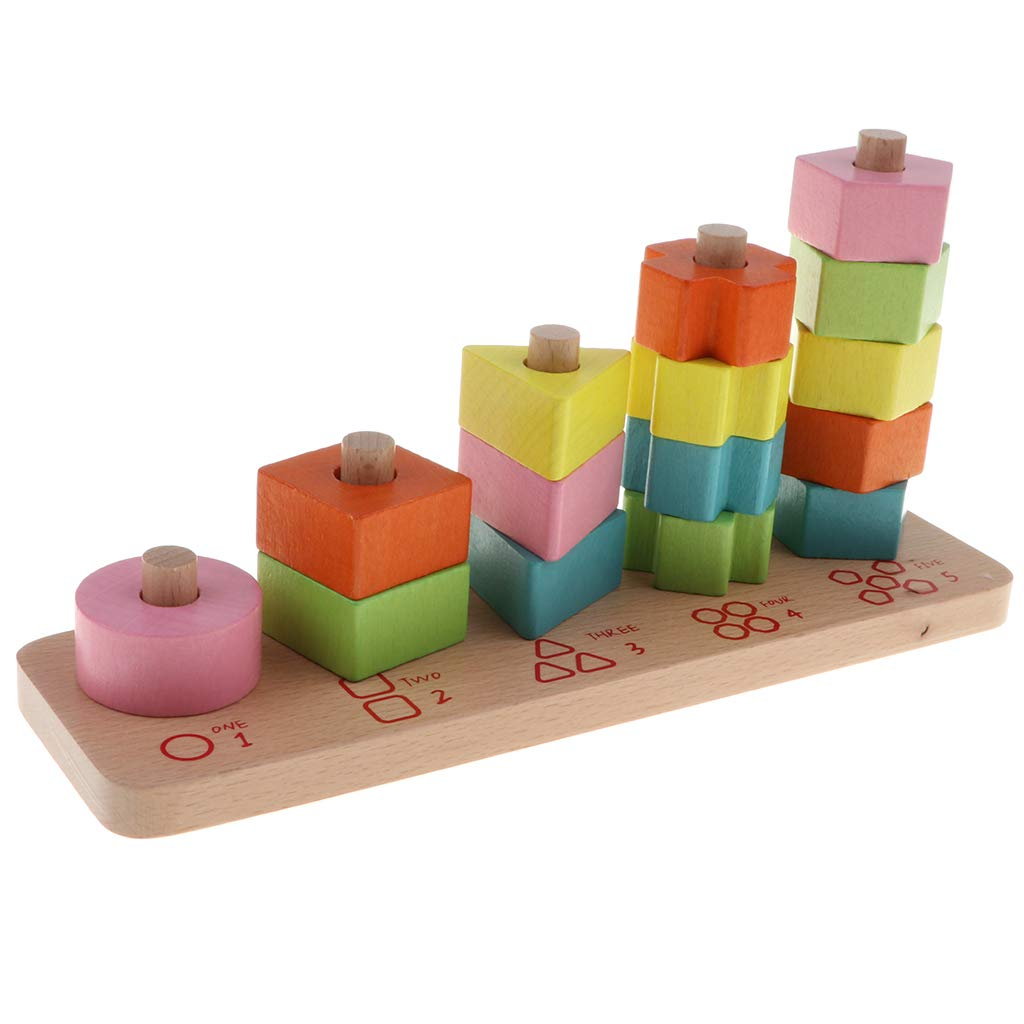 Wooden Geometric Blocks Puzzle Matching Sorting Game Color Shape Cognition Montessori Learning Educational Toys for Children