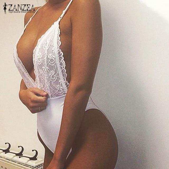 ZANZEA 2020 été mode Sexy barboteuses femmes combinaison profonde col en V sans manches Spaghetti sangle dos nu combishort dentelle body