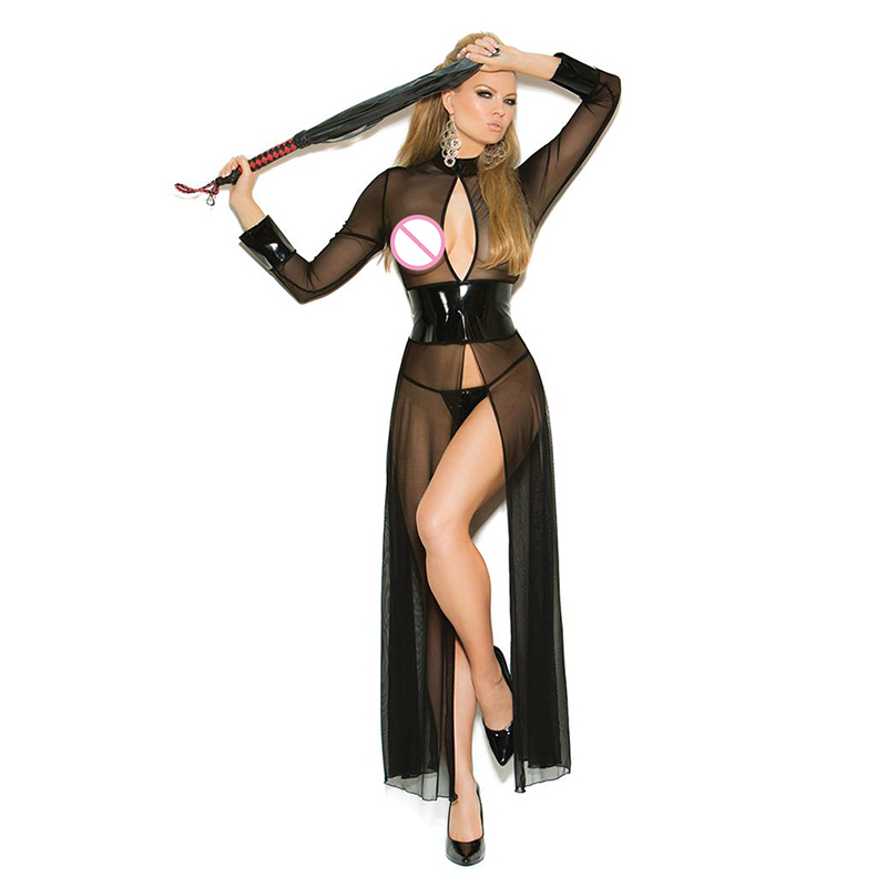 <font><b>Sexy</b></font> Leather Mesh Long Sleeve Robe <font><b>Transparente</b></font> See Through Nightgown Plus Size <font><b>Sexy</b></font> Sheer Shiny Corset Dress Erotic <font><b>Lingerie</b></font> image