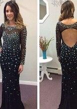 2017 Robe De Soiree Luxus Handgemachte Glänzende Mermaid Abendkleid Strass Perlen Open Back Ganzkörperansicht Maxi Abendkleider