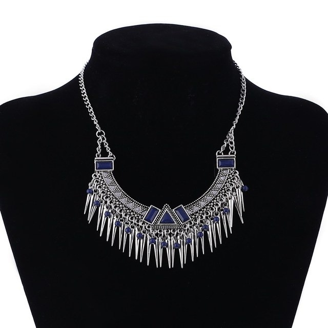Blue Red White Moon Necklace Egyptian Style