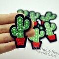 3 PCS Cactus Plant Clothes Embroidered Iron on Patches for Clothing DIY Stripes Motif Appliques parches bordados 5.2*3.9 CM