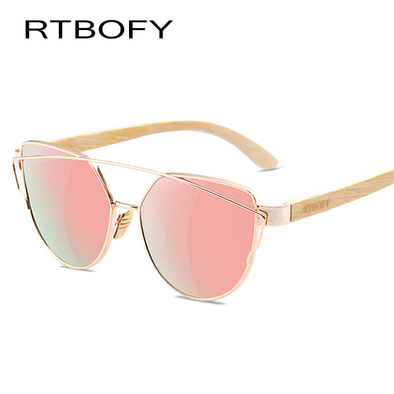 Rtbofy Cat Eye Wood Bamboo Leg Sunglasses Women Polarized