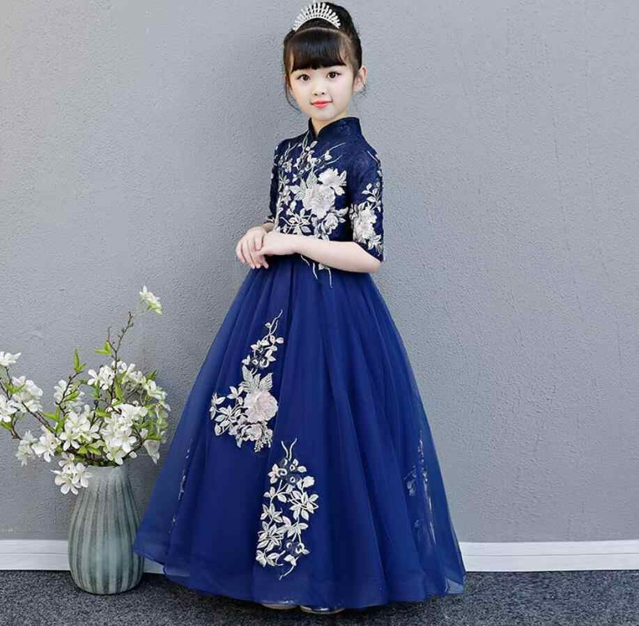 2900135a8086 Girl Dress Party Birthday wedding princess Embroidered Flowers Dress Girls  Christmas Clothes Children Kids Girl Dresses