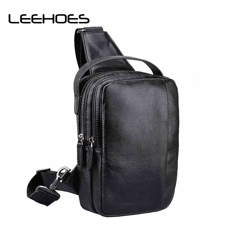 Men Genuine Leather Winte Bag Men Chest Pack Single Shoulder Strap Back Bags Leather Travel Men Crossbody Bags Vintage Chest Bag