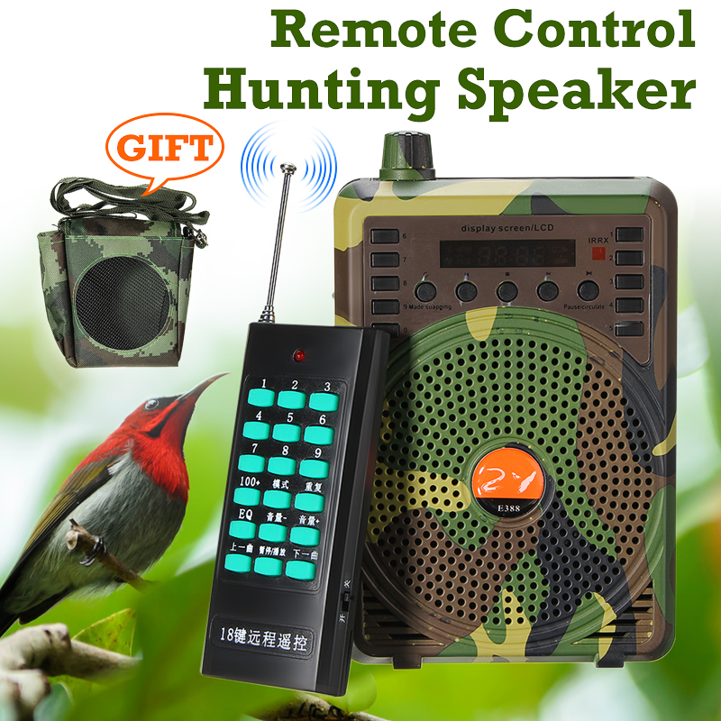 SGODDE Camouflage 48W Electric Hunting Decoy Speaker Bird Caller Predator Sound MP3 Player Bird Trap with Remote Control Goods-in Hunting Decoy from Sports & Entertainment