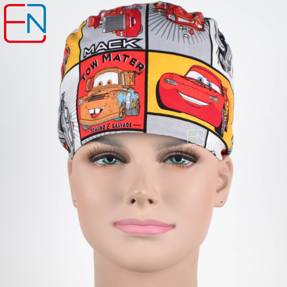 New Cotton Scrub Caps Mask WOMEN Hospital Medical Hats Cartoon Print Tieback Adjustable Cotton WOMEN Surgical Caps Masks