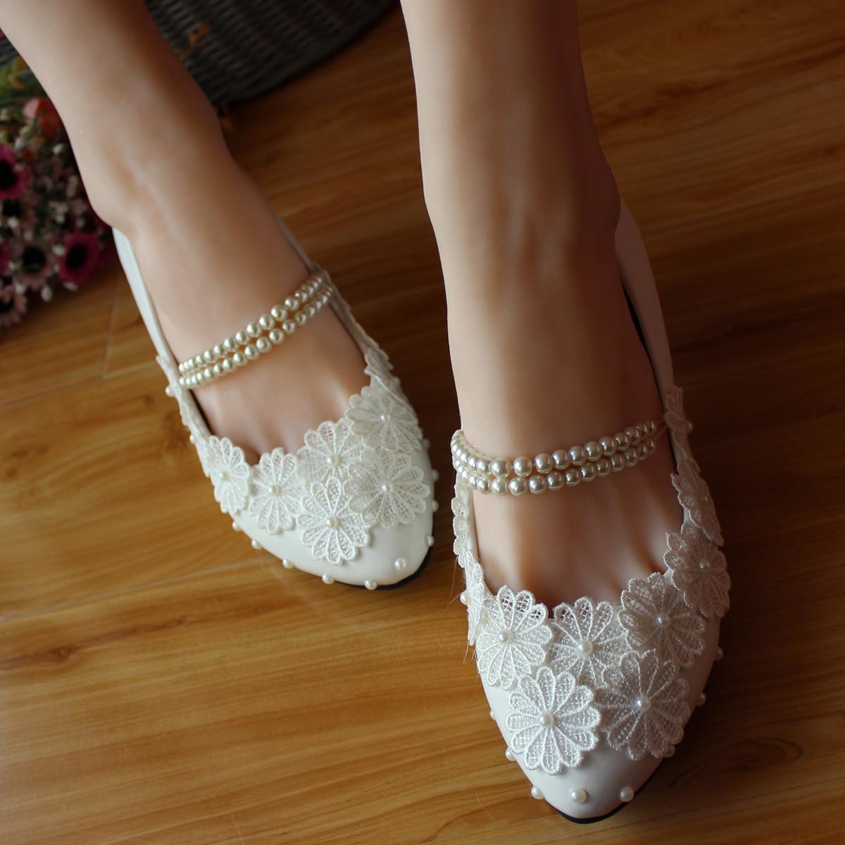 line Get Cheap White Lace Strap Wedding Shoes Pearl Aliexpress