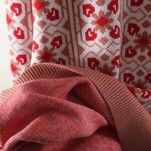 Image 5 - Vintage الحلو متعدد الألوان منقوشة الجاكار متماسكة سترة المرأة فضفاضة أكمام طويلة للسيدات البلوفرات عادية سحب فام C 424