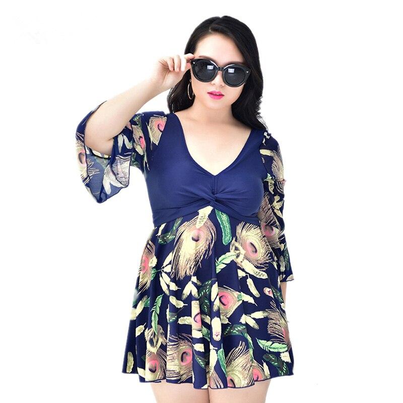 Plus Size Maillot De Bain Half Sleeve Modest Dress Swimming Suit Swimwear One Piece Swimsuit Bathing Suits for Women XL 5XL