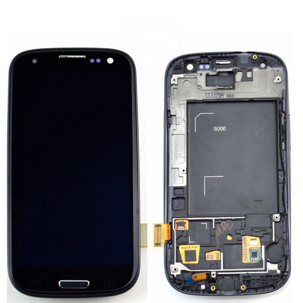 A LCD Display Touch Digitizer Screen + Frame Assembly for samsung S3 I9300 free shipping