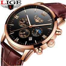 LIGE Mens Watches Top Brand Luxury Leather Casual Quartz Watch Men Military Sport Waterproof Clock Black Watch Relogio Masculino цена
