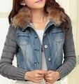 2017 curto de lã denim revestimento do revestimento das mulheres de inverno magro ocasional fios de algodão denim jeans casacos grande gola de pele de cordeiro VENDA M05825