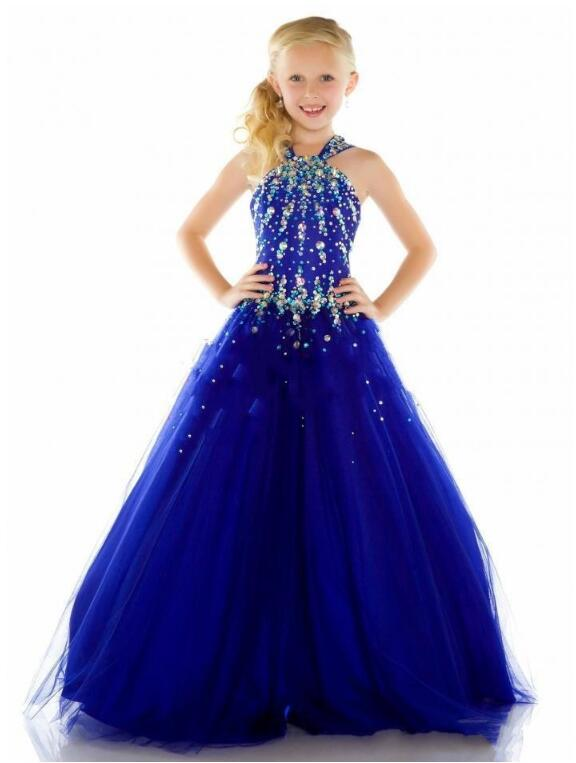 Girls Pageant Formal Dresses 2018 Sleeveless Gallus Diamond Ball Gowns Flowers Girls Princess Dress Kids Party Wedding Dress ball gowns for children pageant teenage girls clothes top grade kids wedding dresses ivory beading diamond wedding dress