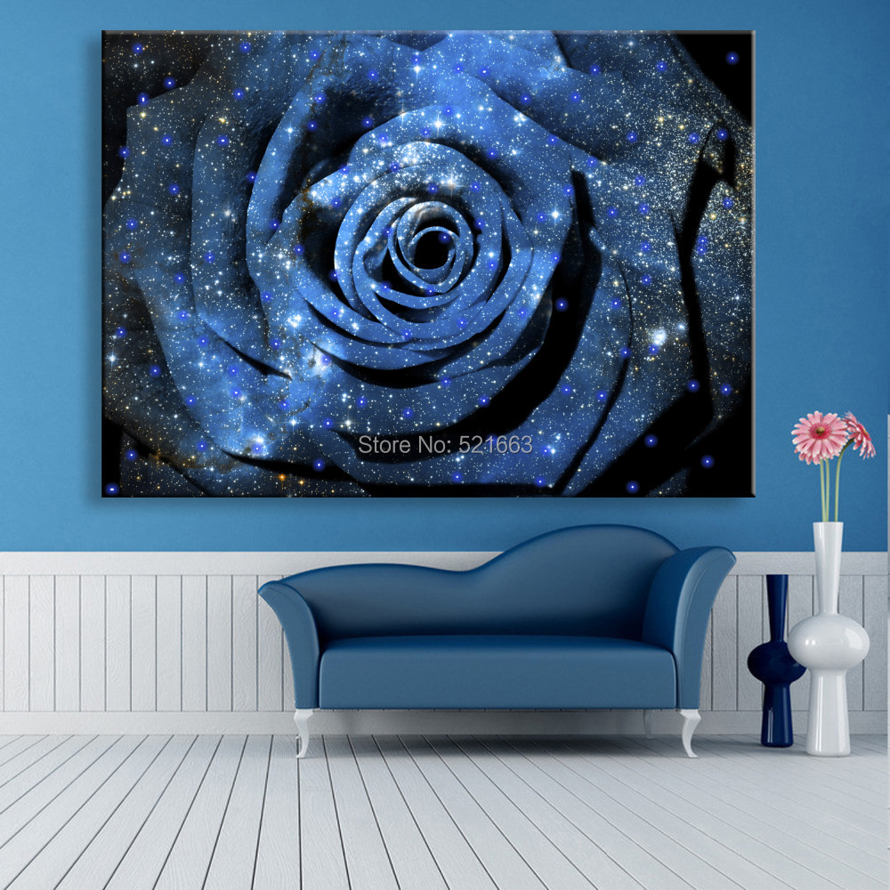 online kaufen gro handel blaue rose leinwand aus china. Black Bedroom Furniture Sets. Home Design Ideas