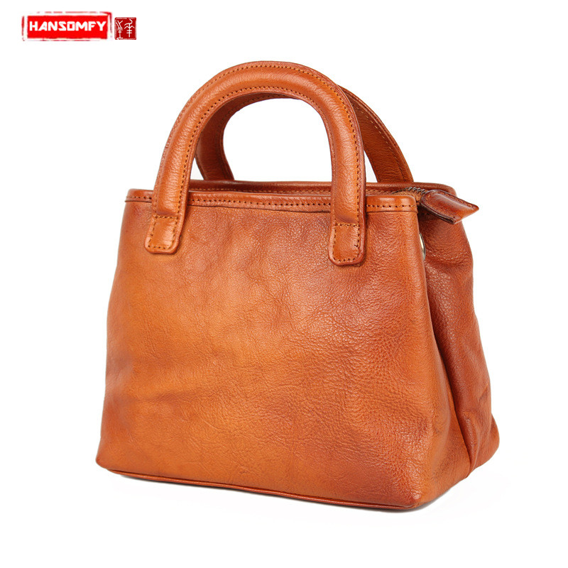 HANSOMFY Genuine leather Women handbag female Messenger bag small square bag retro leisure vegetable tanned leather shoulder bagHANSOMFY Genuine leather Women handbag female Messenger bag small square bag retro leisure vegetable tanned leather shoulder bag