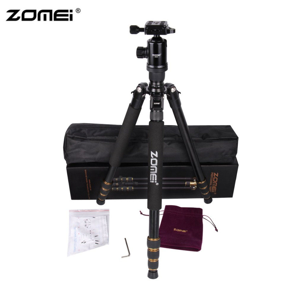 Zomei Portable Flexible Camera Tripod Stand Aluminum With Ball Head Quick-Release Plate For DSLR SLR Camera With Carrying Case original weifeng wt3770 portable lightweight aluminum alloy tripod with carrying bag for dslr slr camera