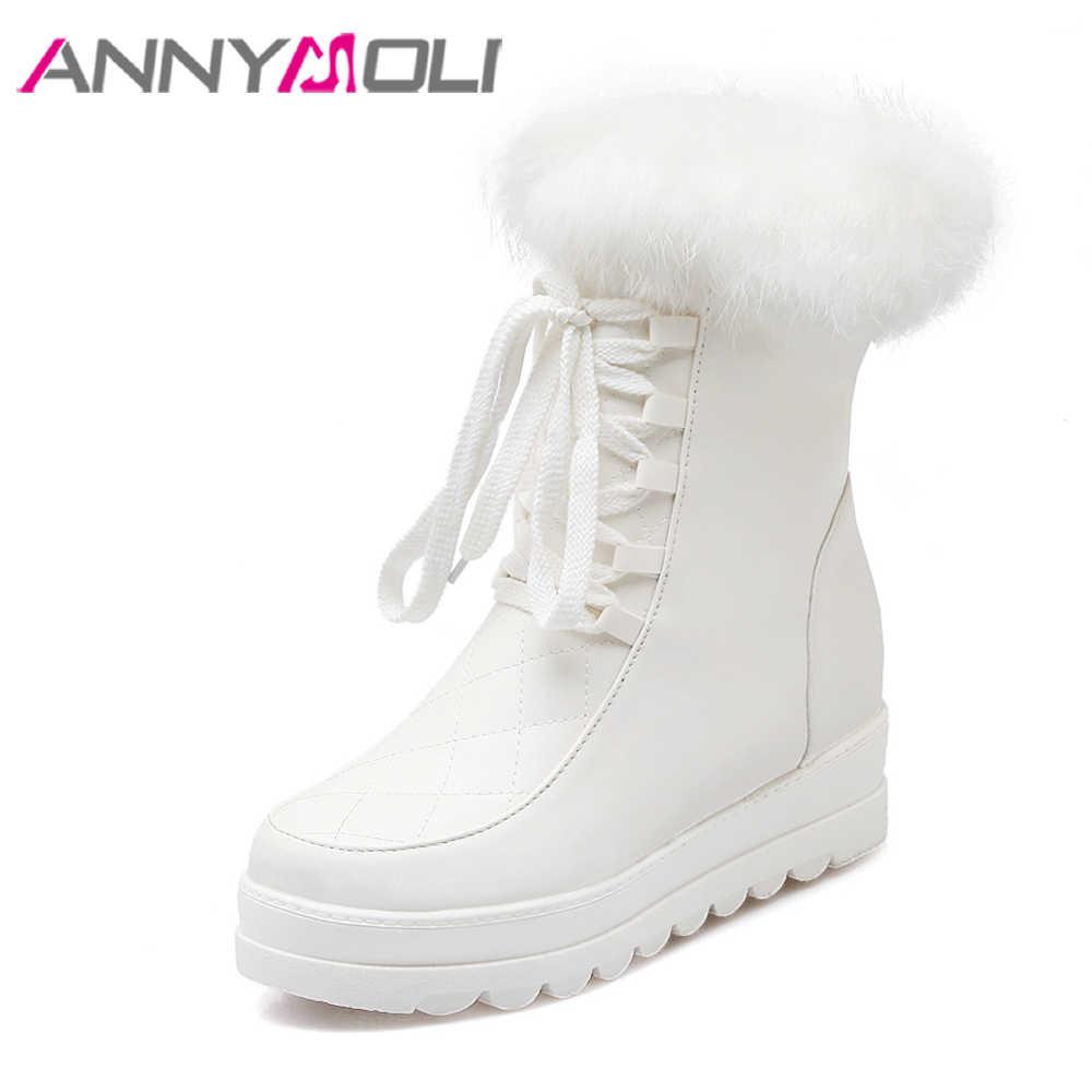 ANNYMOLI Kar Botları Orta Buzağı Çizmeler Kadın Kış Peluş Platformu Kama Topuk Çizmeler Fermuar Gerçek Tavşan Kürk pamuklu ayakkabılar Beyaz 34 -43