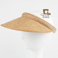 NEW Straw Casual Sun Visor Hair Clip Hat Beach Empty Top Summer Hat Natural Hemp Topless
