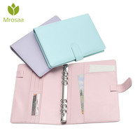 Mrosaa Candy Color A5 Leather Loose Leaf Refill Notebook Spiral Binder Planner Replacement Cover 6 Hole