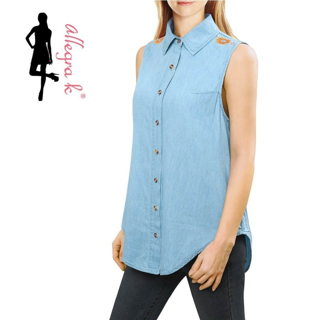 846070b59569 Allegra K Women Embroidered Sleeveless Denim Shirt W Cut Out Back-in ...