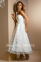Free Shipping New Style Gogeous Ankle Length Lace Wedding Reception Dress
