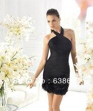 AQL013 Halter Schwarz Chiffon Plissee Sexy Junge Mädchen Short Strand Maß Affordable Cocktailkleid