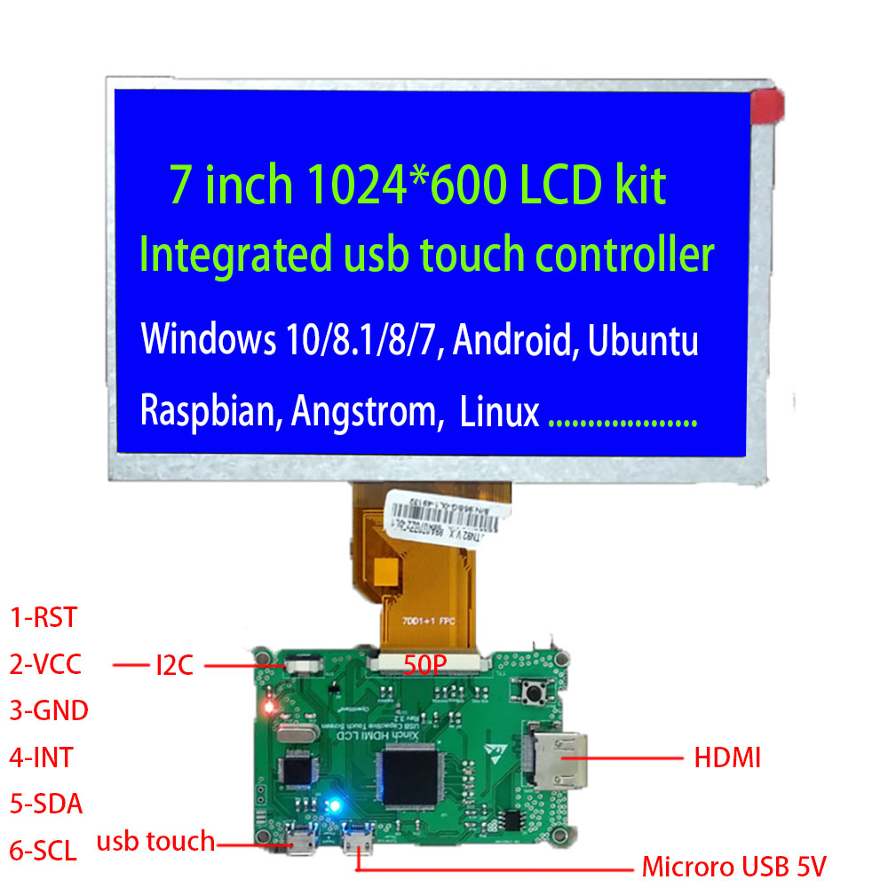 7inch HDMI  lcd Kit Driver Board  Integrated USB Touch Controller DC5V 1024*600 Support WIN7 8 10 Linux Raspberry Pi  Ubuntu7inch HDMI  lcd Kit Driver Board  Integrated USB Touch Controller DC5V 1024*600 Support WIN7 8 10 Linux Raspberry Pi  Ubuntu
