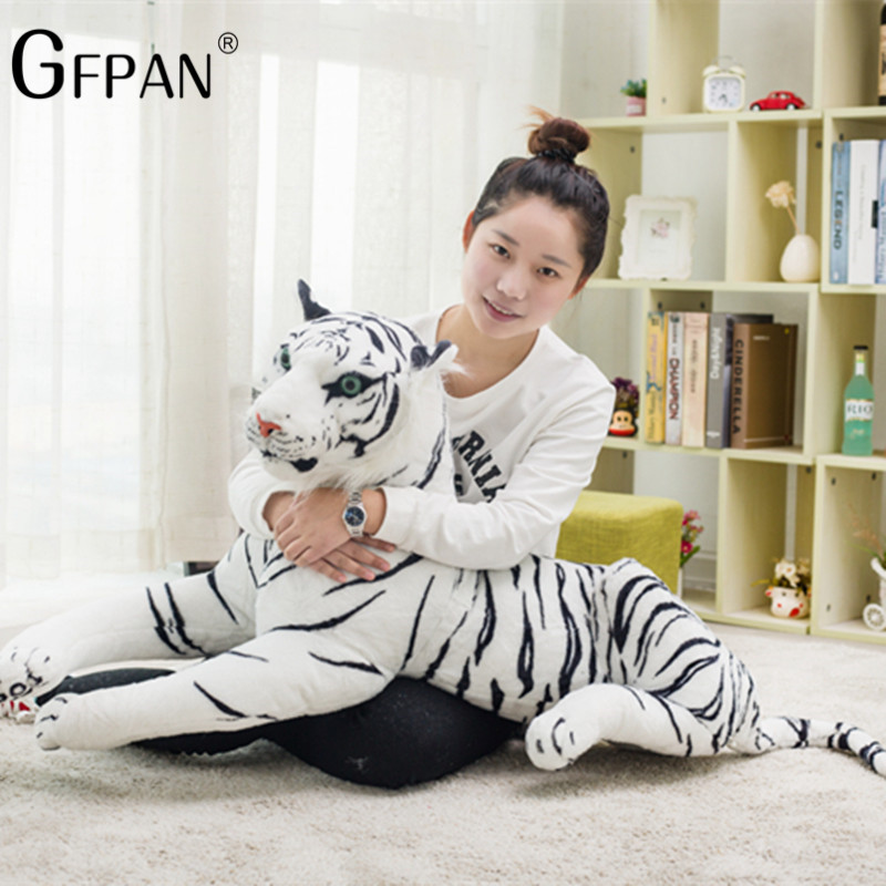 60-30cm Simulation White Tiger Plush Toy Cute Stuffed Animal Pillow Cushion Baby Doll Toys Creative Gift For Children Kids