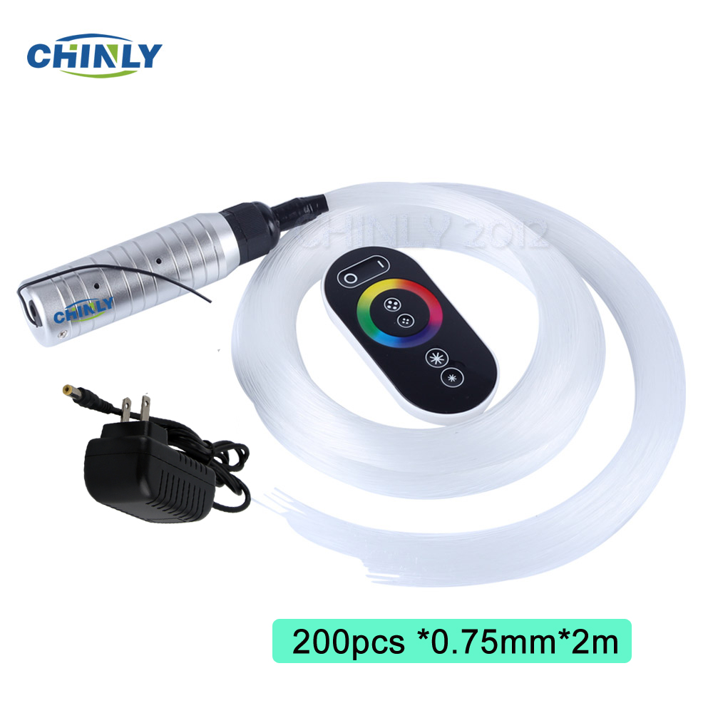 6W LED Fiber Optic Lights RGB Starry Sky Effect Ceiling Kit With Touch Remote Controller Fiber Cable 2m 200pcs 0.75mm + Crystals