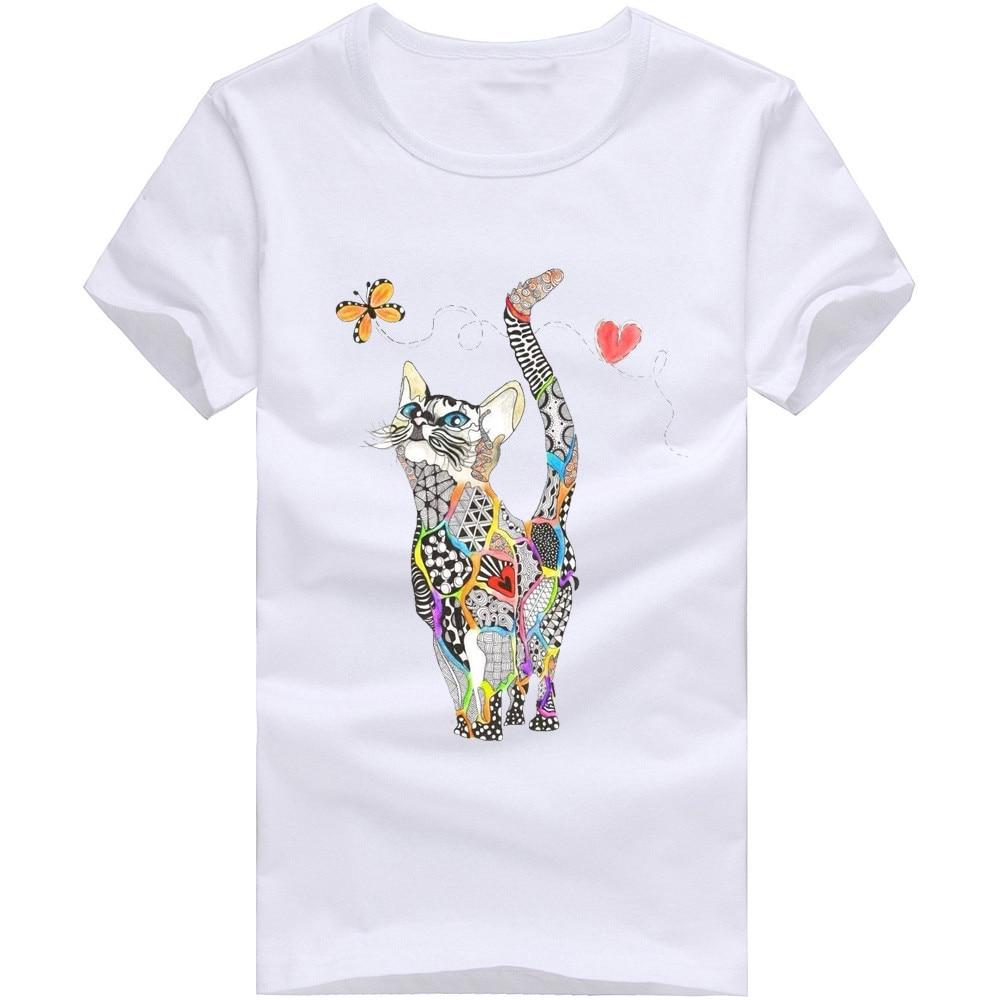 Women Summer Short Sleeve Sequined Donald Cat Print T Shirts Fashion White Top Tees Women Girls Designer Clothing W327