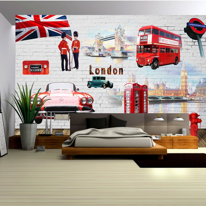 Custom photo wallpaper Red Bus London urban landscape custom HD murals lounge hall decoration background wallpaper welly london bus 99930