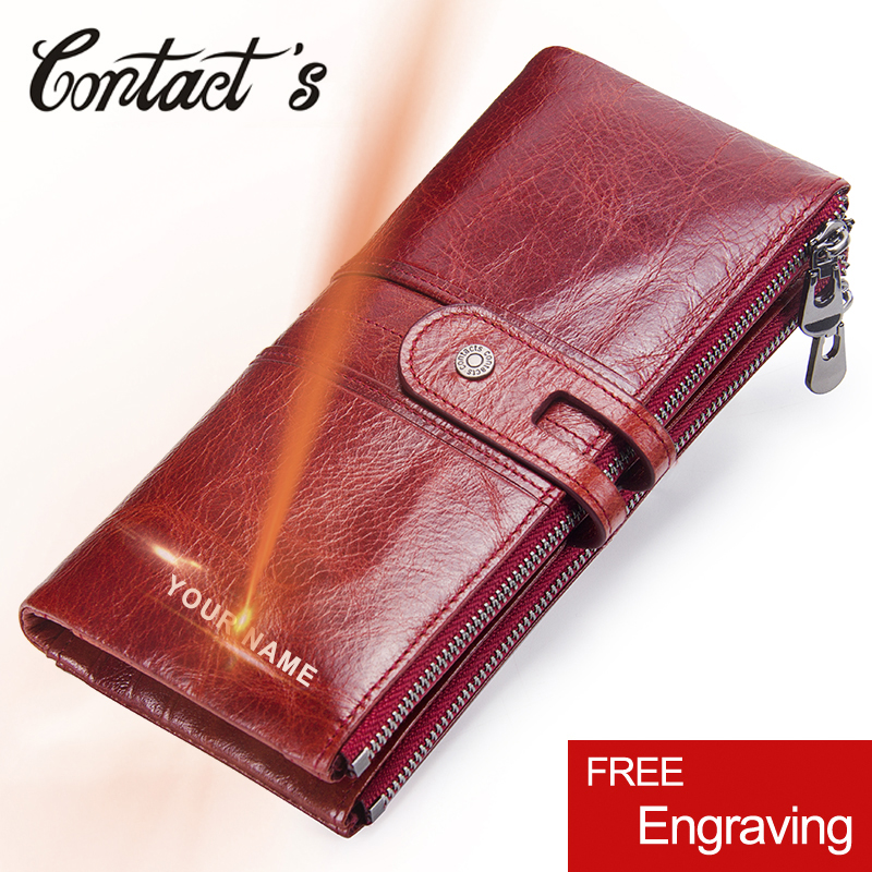 Brand Designer Women Clutch 2019 Fashion Wallets Cowhide Leather Female Long Wallet Women Zipper Purse Coin Purse For iPhone X