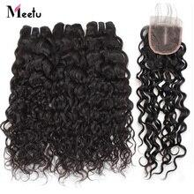 hot deal buy meetu indian water wave bundles with closure 3 bundles with closure non remy 100% human hair bundles with closure tangle free