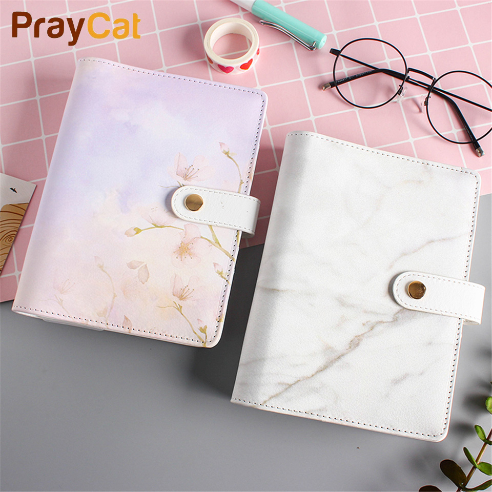A6 Marble Notebook Cute Kawaii Dokibook Planner Notepad DIY Travel Journal 80 Pages Notebook Diary Note Book Office Supplies 80 pages note for nature poems flamingo peafowl blank page notebook journal diy diary notepad